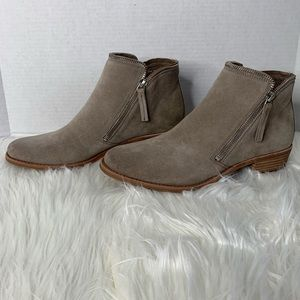 Dolce Vida | Taupe Suede Ankle Booties